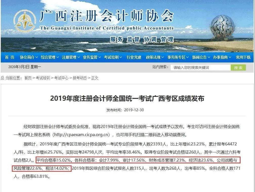 广西地区CPA考试通过情况