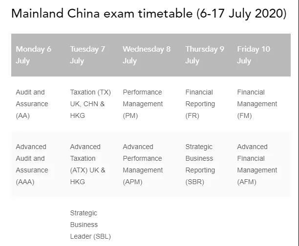 2020年7月ACCA最新考试时间公布
