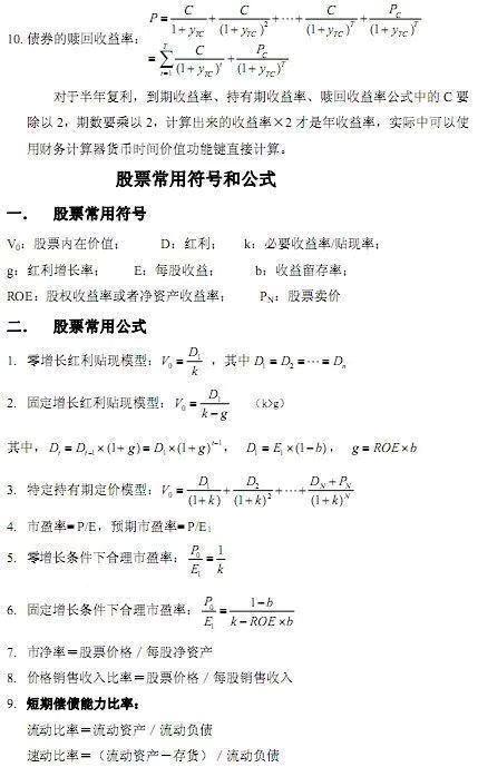 AFP考试的公式大全!速看!!